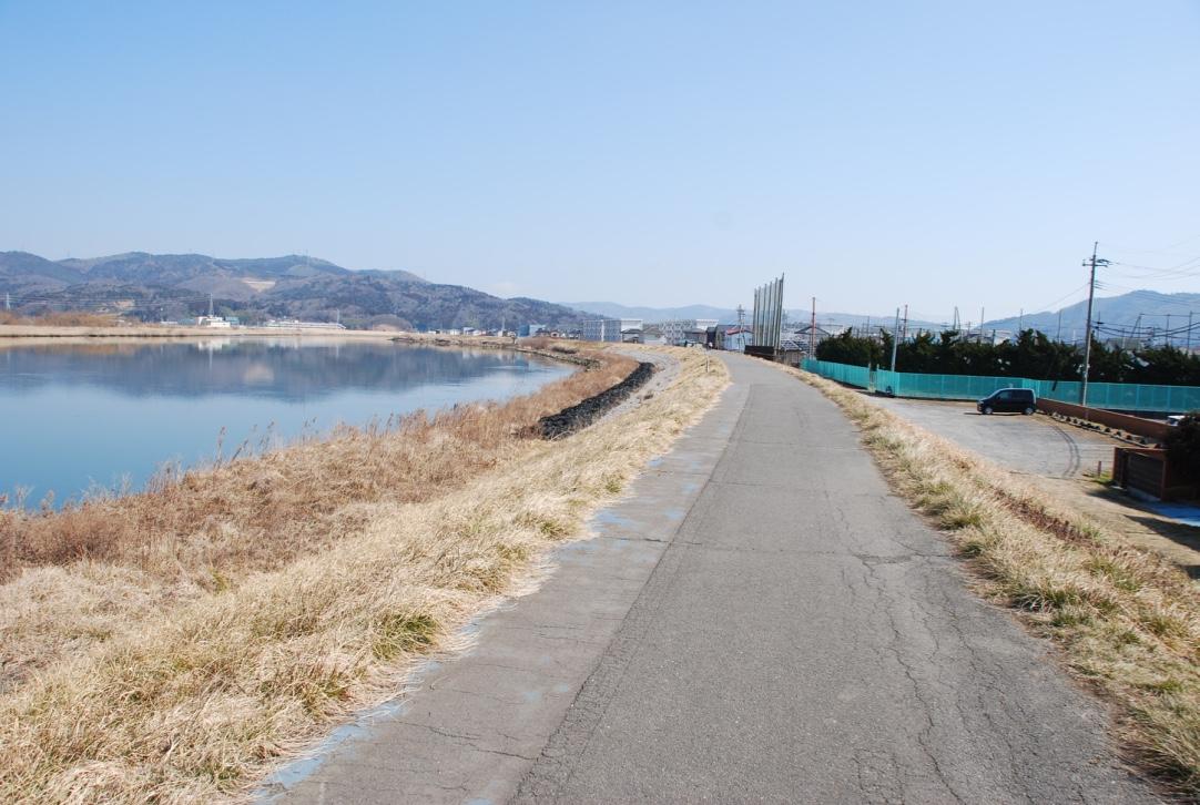 石巻大橋(開北橋)~石井閘門~釜地区までのサイクリングロード